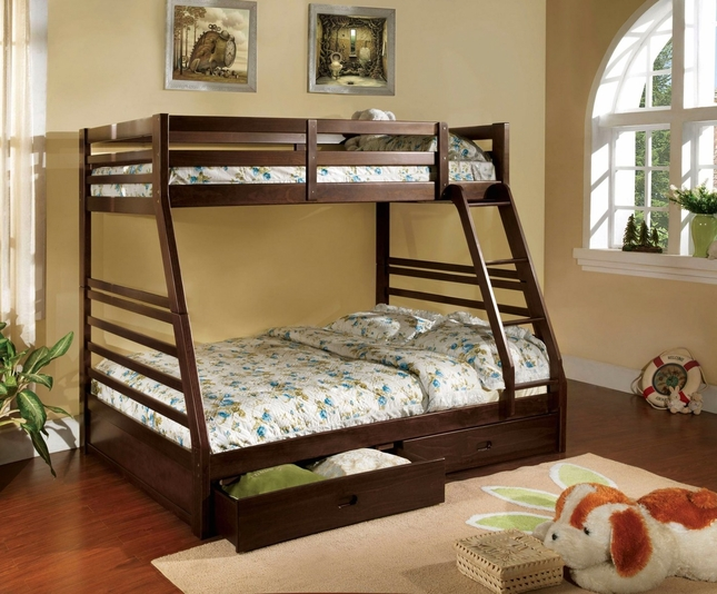 California II Espresso Bunk Bed with Two Drawers