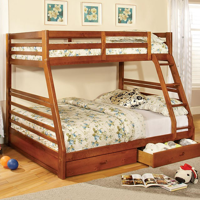 California III Oak Twin Over Full Bunk Bed with Storage Drawers & Ladder