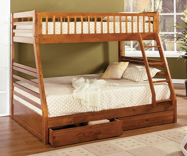 California II Twin Over Full Oak Bunk Bed with Storage Drawers & Ladder