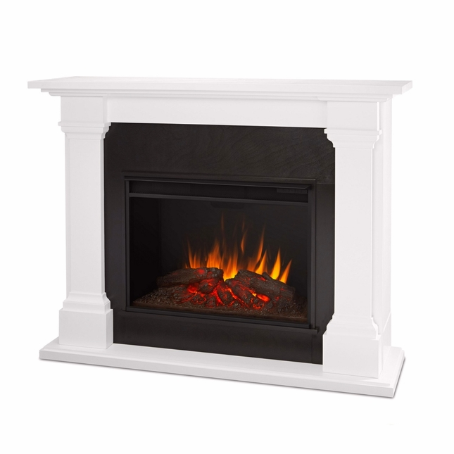 Callaway Grand VIVID LED Electric Fireplace In White, 5100BTU, 63x48