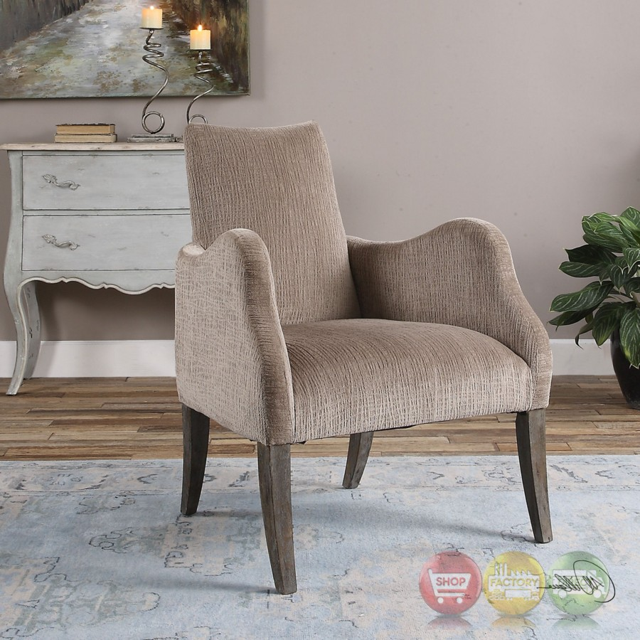 Chenille Armchair: Callee Oatmeal Chenille Square Back Accent Armchair With