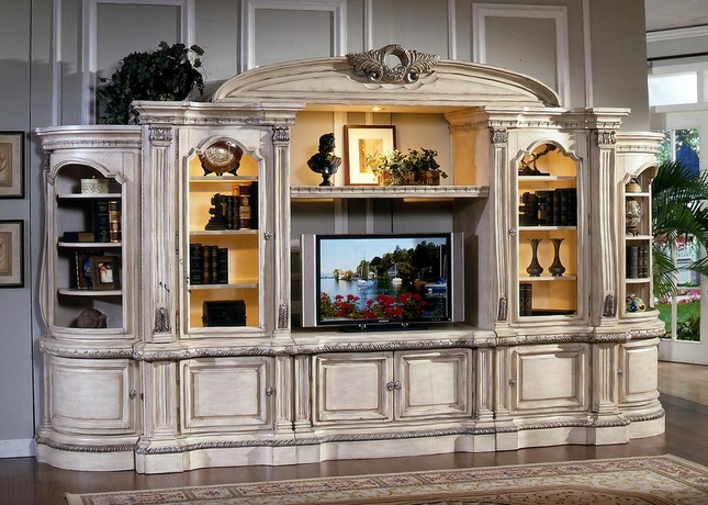 Callie Large White Ornate TV Entertainment Center Wall Unit
