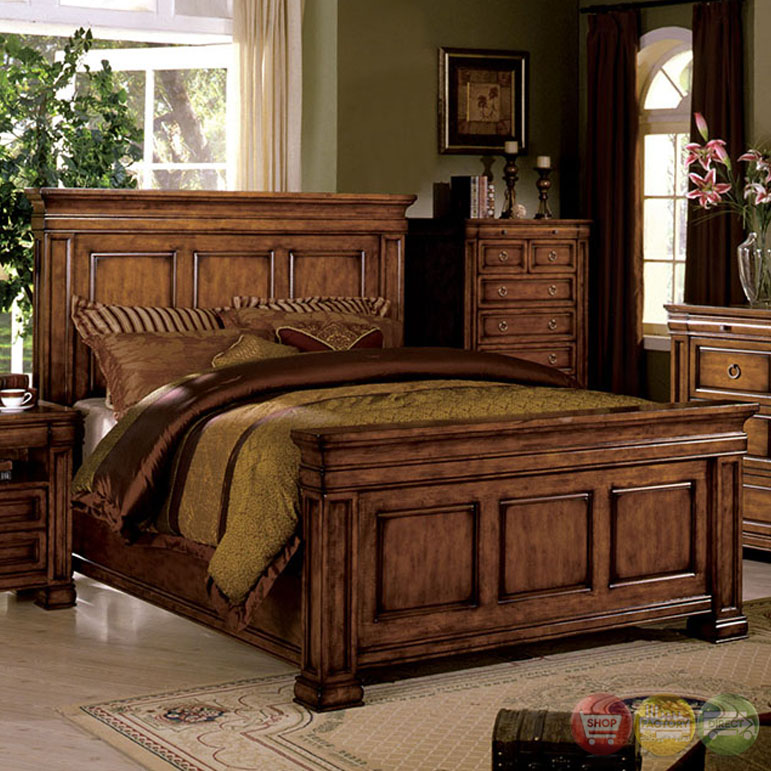 Cambridge Tobacco Oak Beveled Panel Bedroom Set with English Dovetail ...