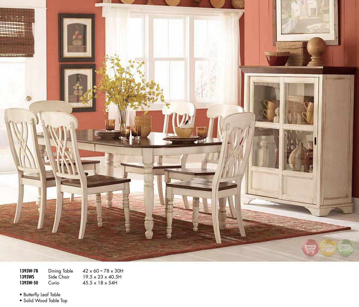 Cottage Dining Room Sets: Ohana Cottage Style Oval Whitewash Dining Room Set