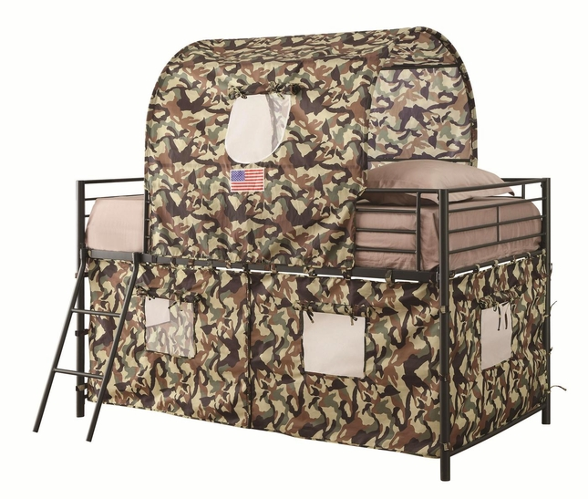 Camouflage Fabric Play Fort Tent Twin Loft Bunk Bed