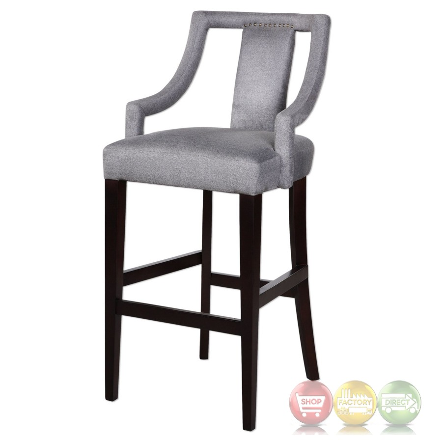 Canice Sleek Charcoal Gray Bar Stool With Open Armed Back  : canice sleek charcoal gray bar stool with open armed back and espresso frame 4 from shopfactorydirect.com size 900 x 900 jpeg 81kB