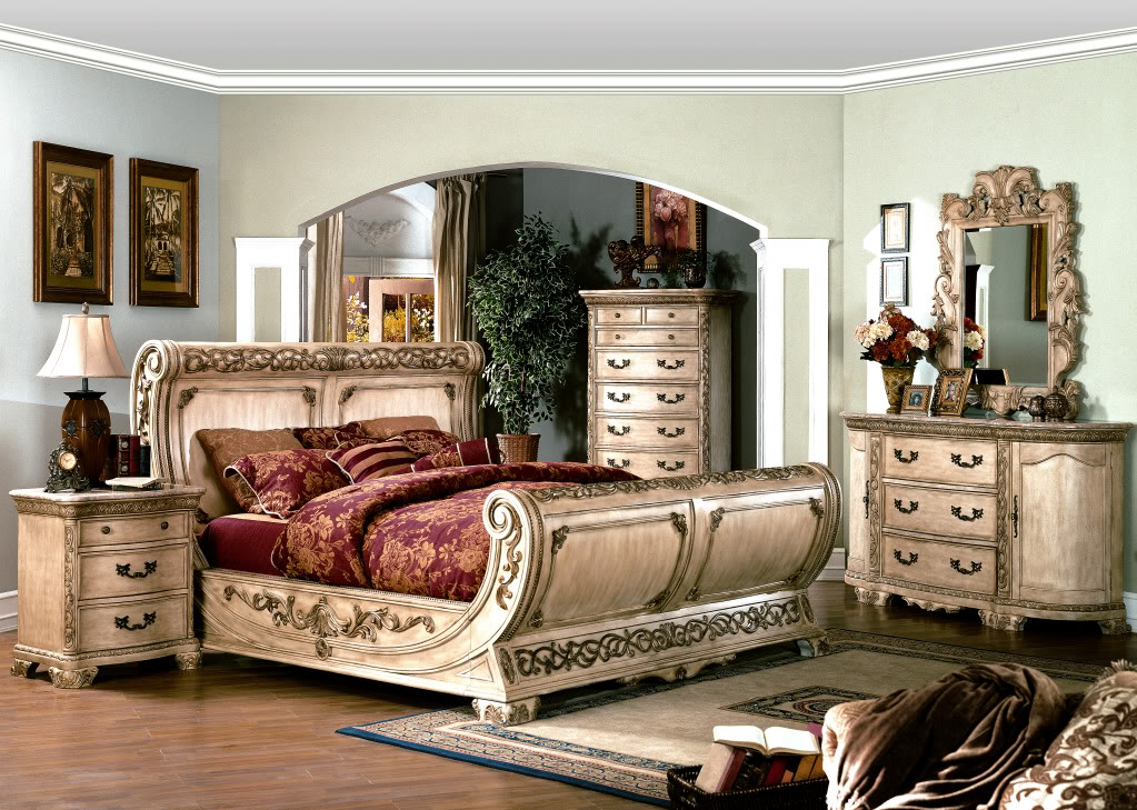 Cannes Ornate Traditional Queen Sleigh Bed Ivory White