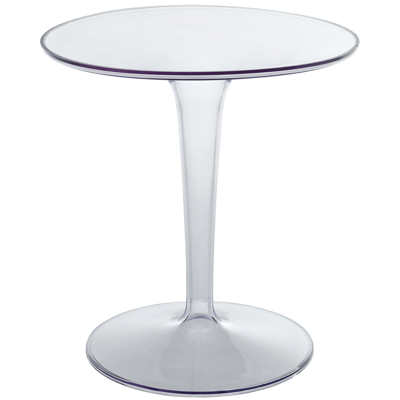 Canvas Modern Round Side Table With Transparent Pedestal