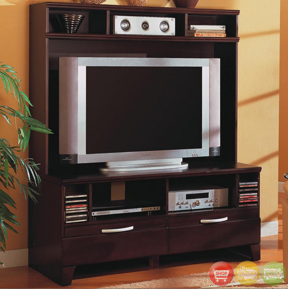 Cappuccino Contemporary Wall Unit Entertainment Center