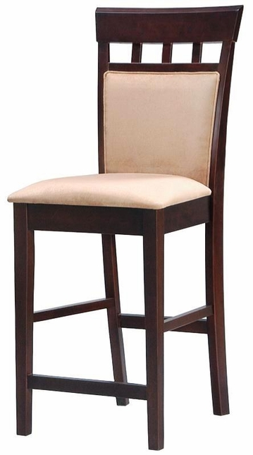 Cappuccino Set of 2 Upholstered Tapered Legs Panel Back Barstool