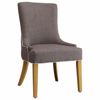 Caprice Side Chair In Grey Woven Fabric with White Parallel Trim, Set of 2