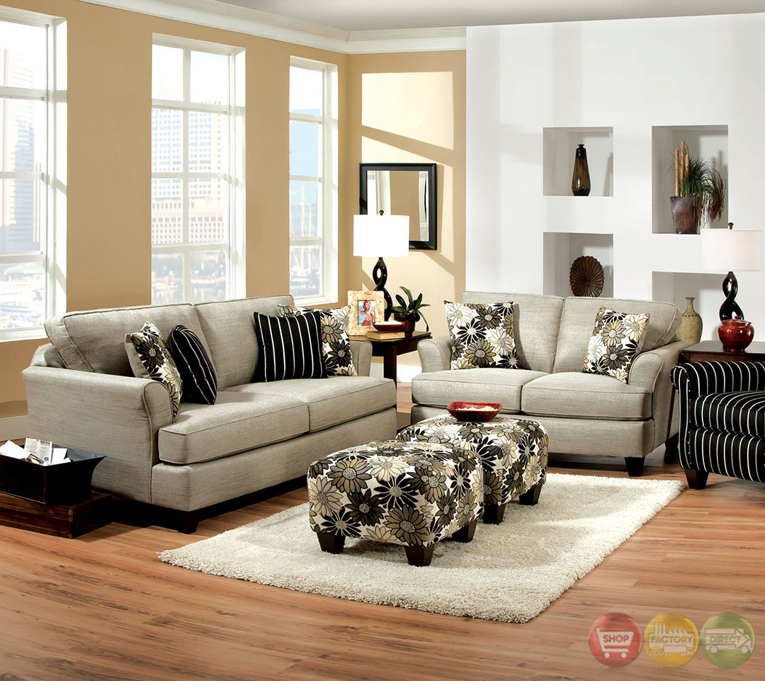 Cardiff Contemporary Light Gray And Floral Fabric Living