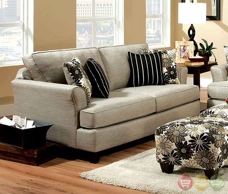 cardiff contemporary light gray and floral fabric living room set with