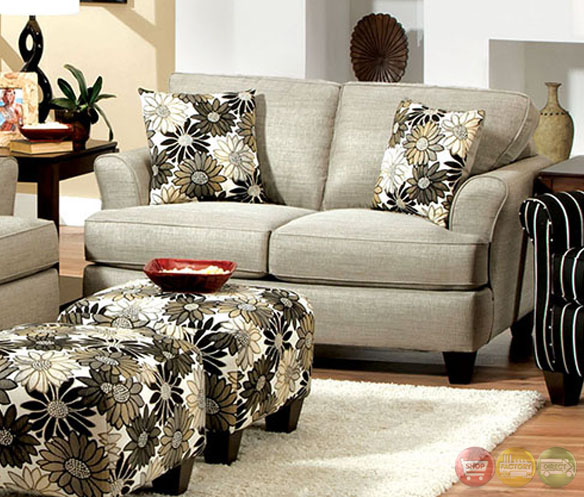 Cardiff Contemporary Light Gray And Floral Fabric Living Room Set With Plush