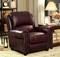Carlton Traditional Burgundy Chair In Top Grain Leather & Nailhead Trim