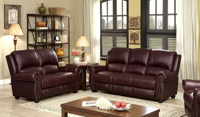 Carlton Traditional Burgundy Sofa & Loveseat In Top Grain Leather & Nailhead Trim