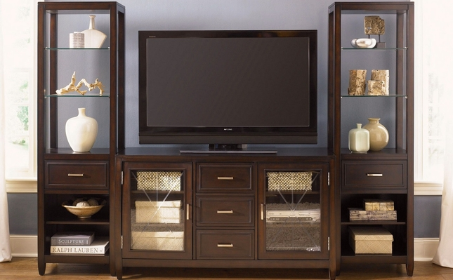 Caroline Entertainment Center with Side Curio Cabinets