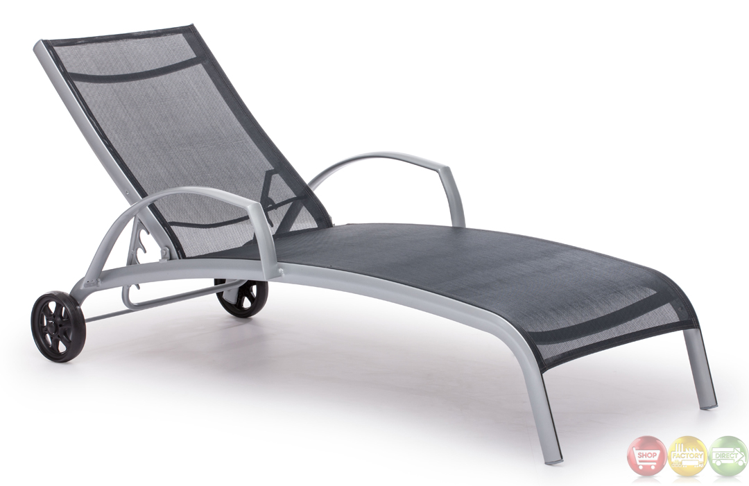 Casam Black Silver Chaise Lounge Zuo Modern 703076 Modern Outdoor Furni