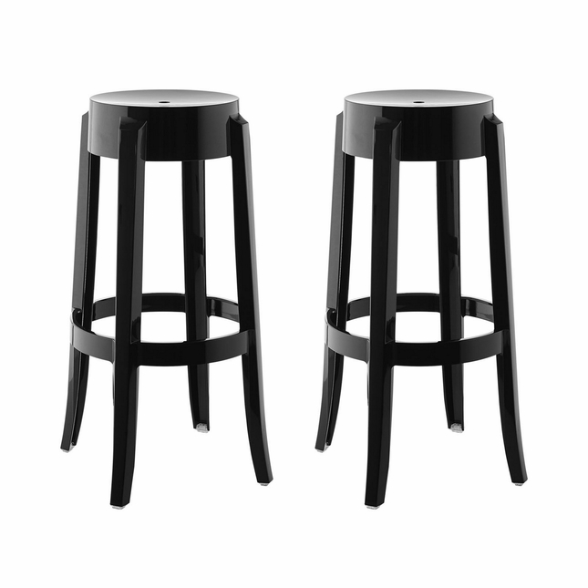 Set of 2, Casper Modern Transparent Acrylic Bar Stool With Foot Stretcher, Black