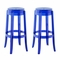 Set of 2, Casper Modern Transparent Acrylic Bar Stool With Foot Stretcher, Blue