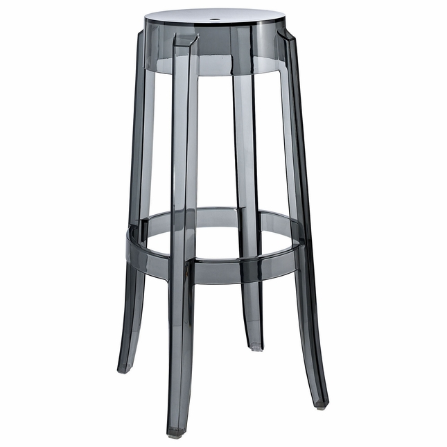 Casper Modernistic Transparent Acrylic Bar Stool, Smoke