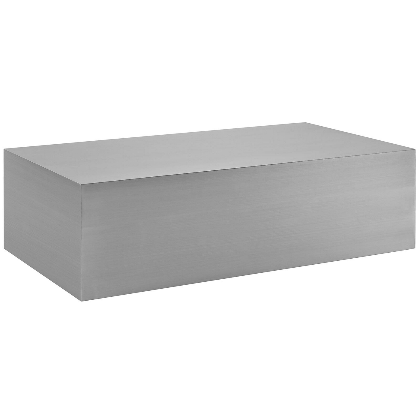 "Modern Coffee Table Metal: Cast Modern ""box-style"" Coffee Table In Seamless Stainless"