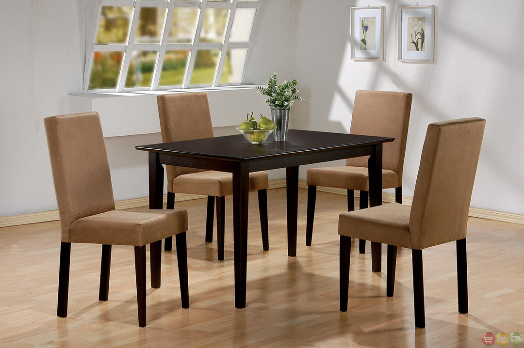casual 5 piece microfiber upholstery dining room set