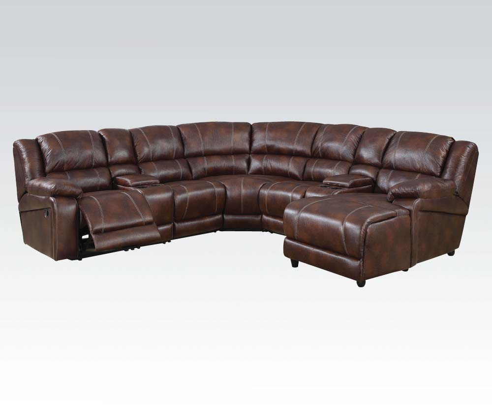 casual brown 7 reclining sectional sofa w storage console chaise