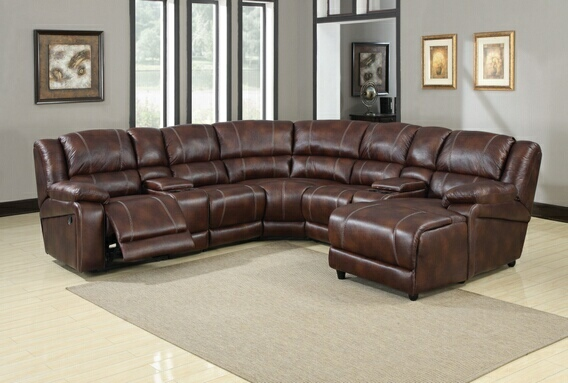 Brown Faux Leather Reclining Sectional Sofa, Storage Console & Chaise 7 pc
