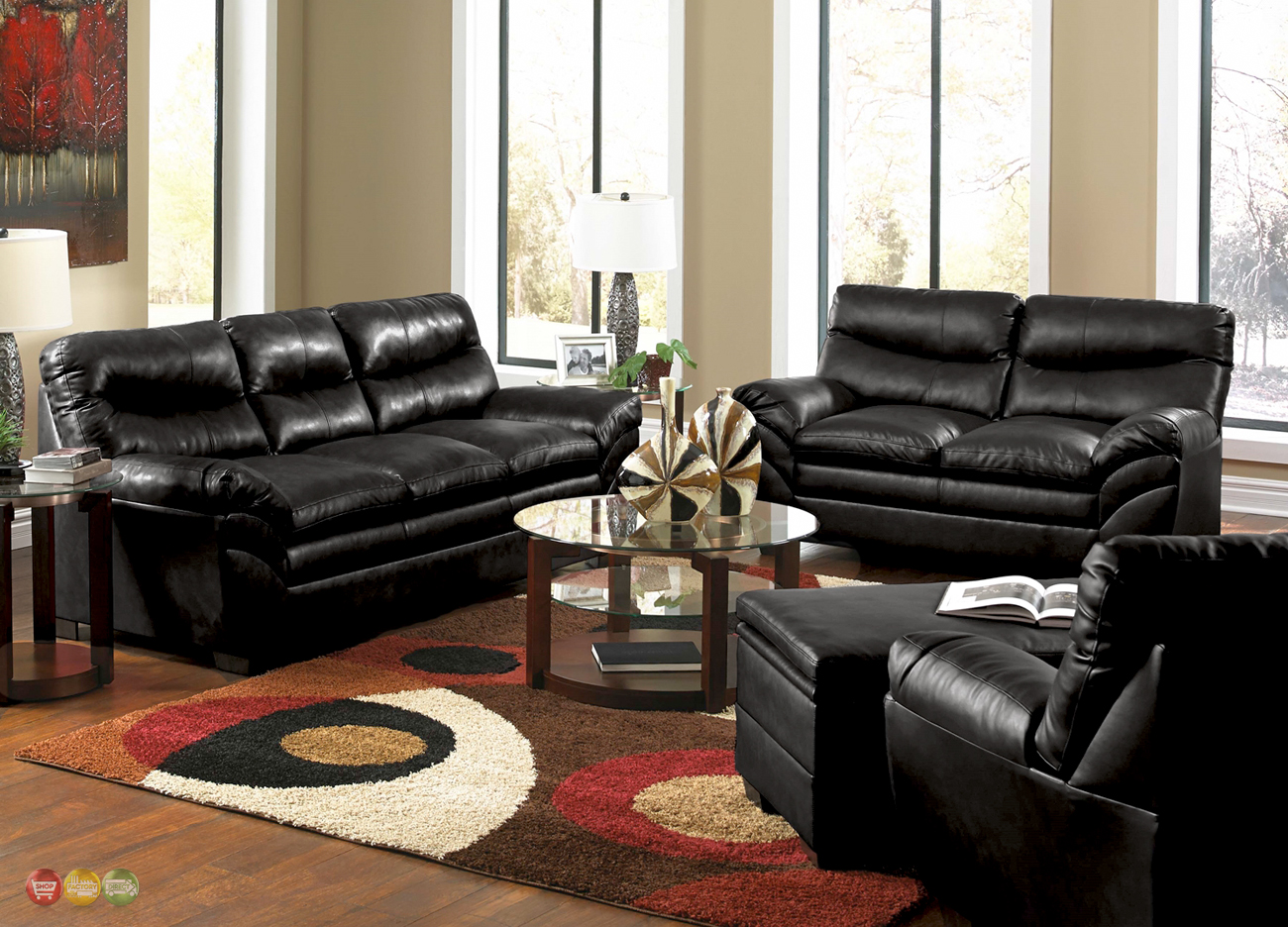 Casual Contemporary Black Bonded Leather Sofa Set Living Room Furniture