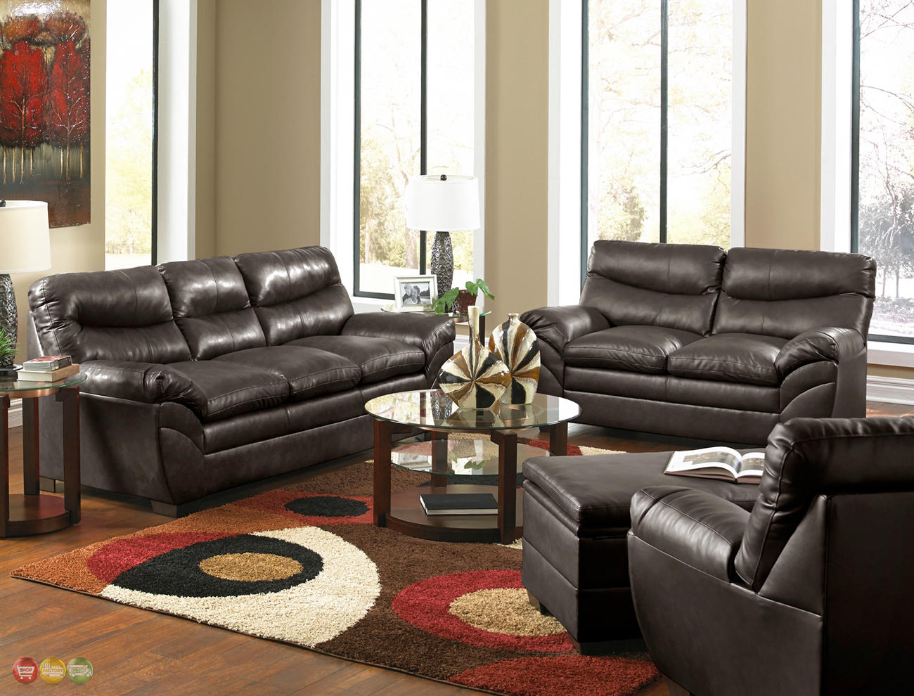 Contemporary Brown Bonded Leather Sofa Set Living Room Furniture