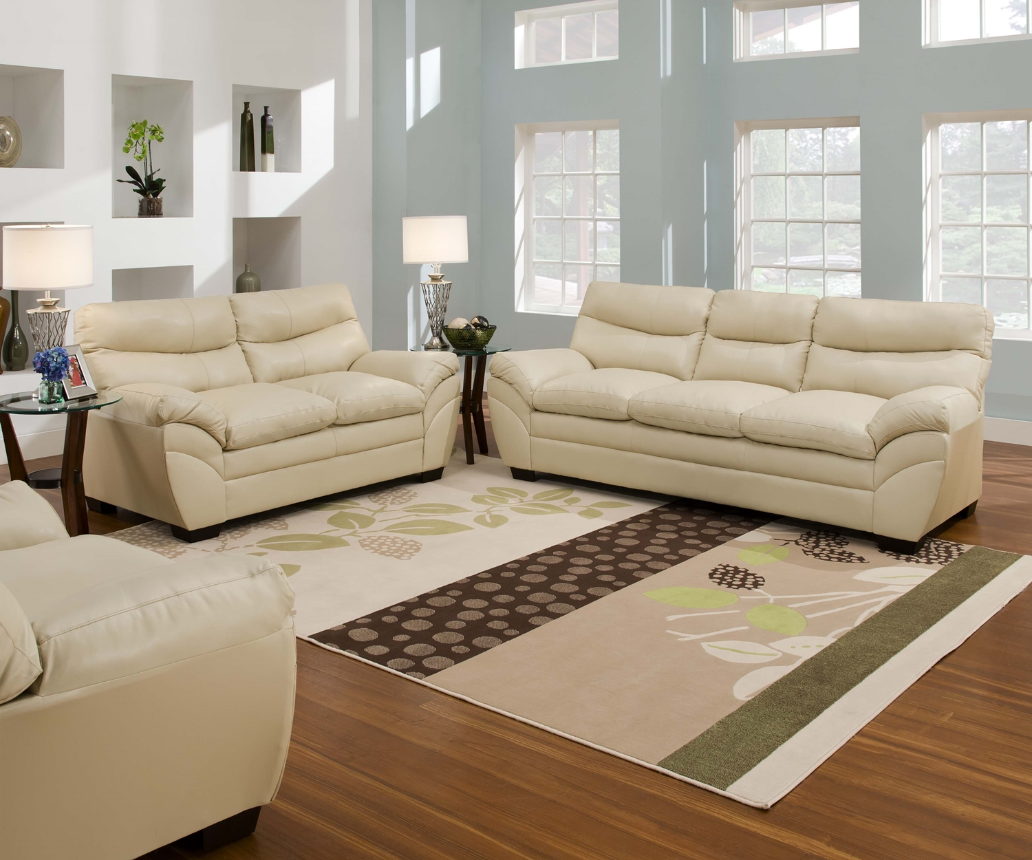 Casual Contemporary Cream Bonded Leather Sofa Set Living Room Furniture