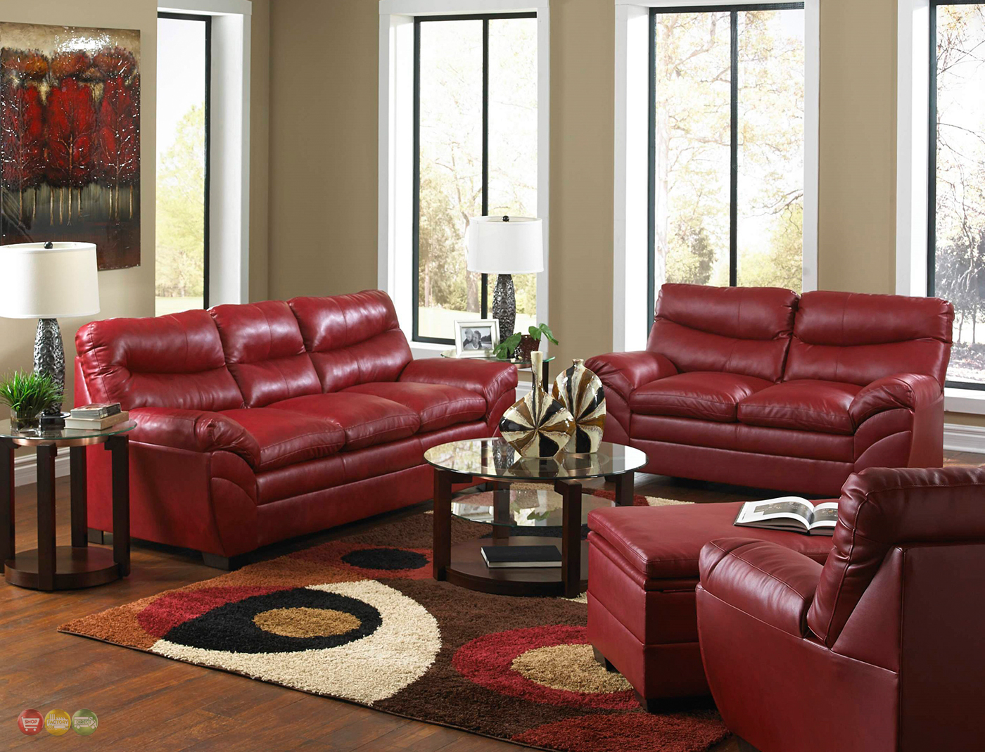 Casual Contemporary Red Bonded Leather Sofa Set Living Room Furniture Simmons