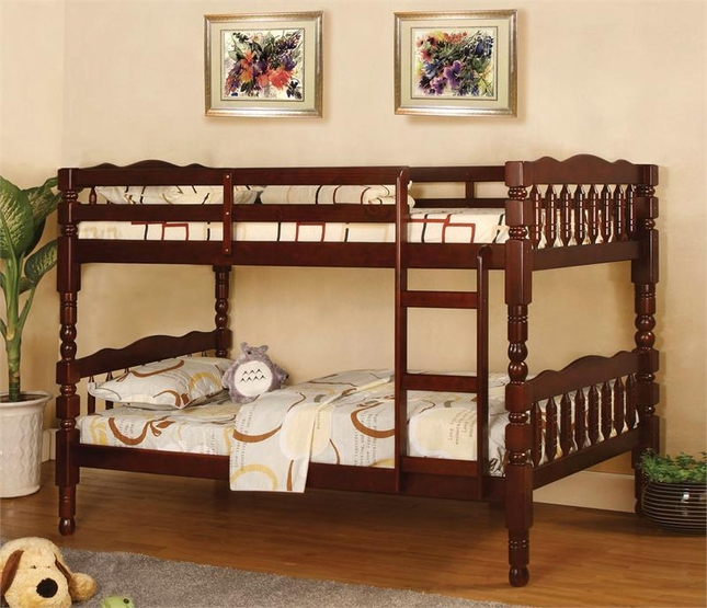 Catalina Cherry Bunk Bed with Front Access Fixed Ladder