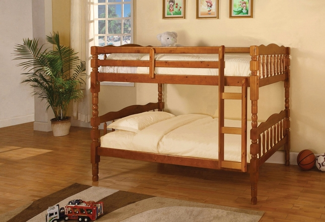 Catalina Oak Bunk Bed with Front Access Fixed Ladder