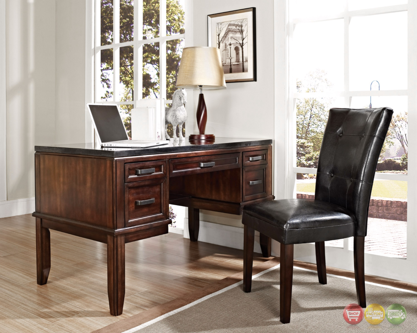 """Warm Cherry Executive Desk Home Office Collection: Chamberlain 52"""" Executive Writing Desk With Dark Granite"""