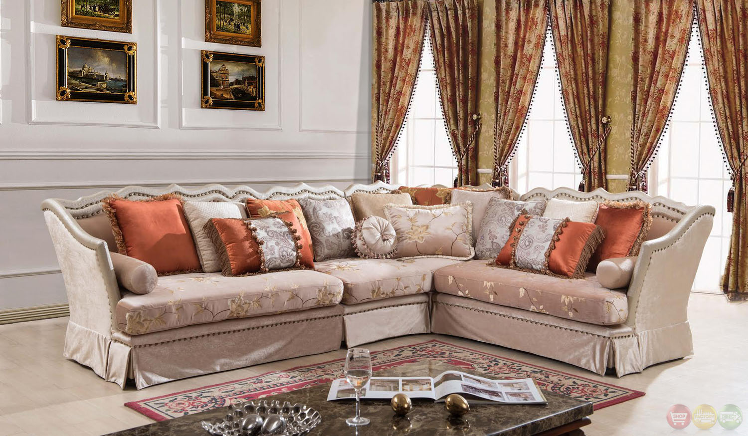Champagne Formal Antique Style Traditional Living Room