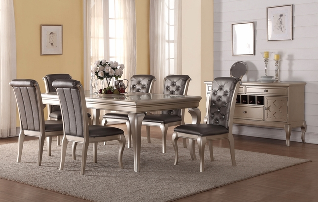 "Chantilly Classic 5-pc 64"" Dining Set W/ Faux Leather Chairs In Silver"
