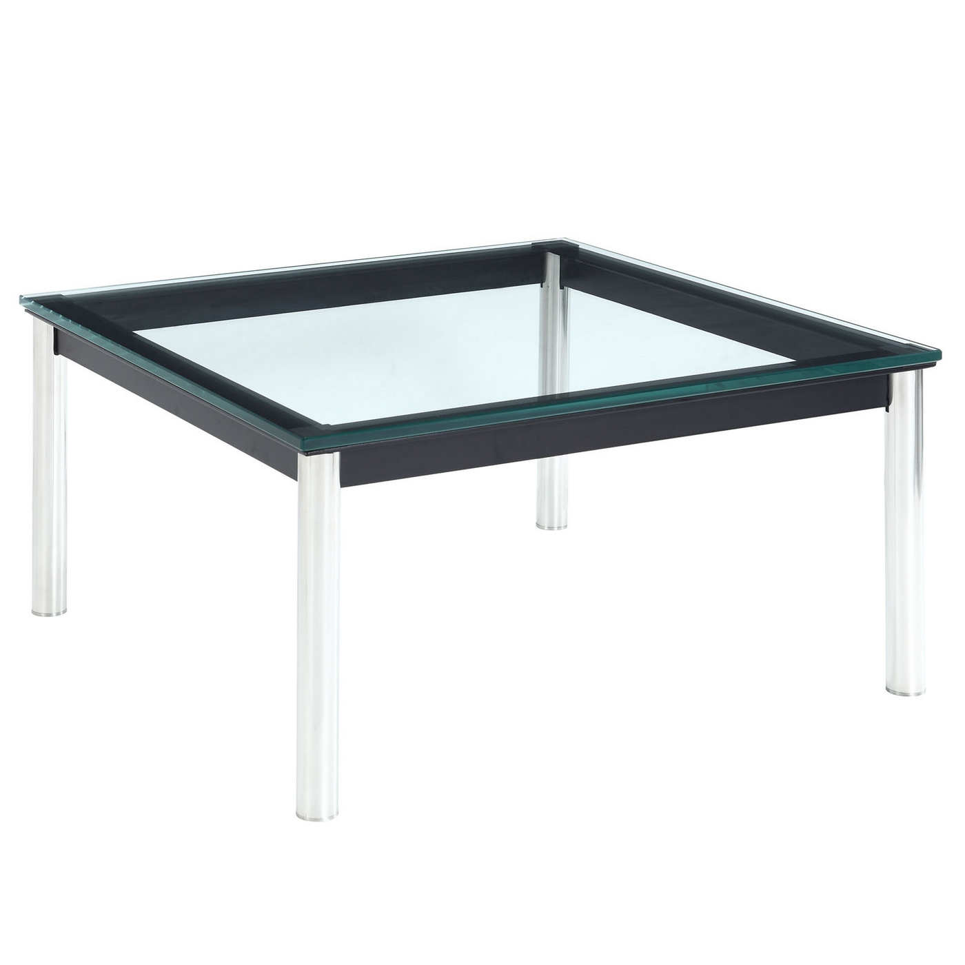 "Charles Modern 27.5"" Glass Top Coffee Table W/stainless"