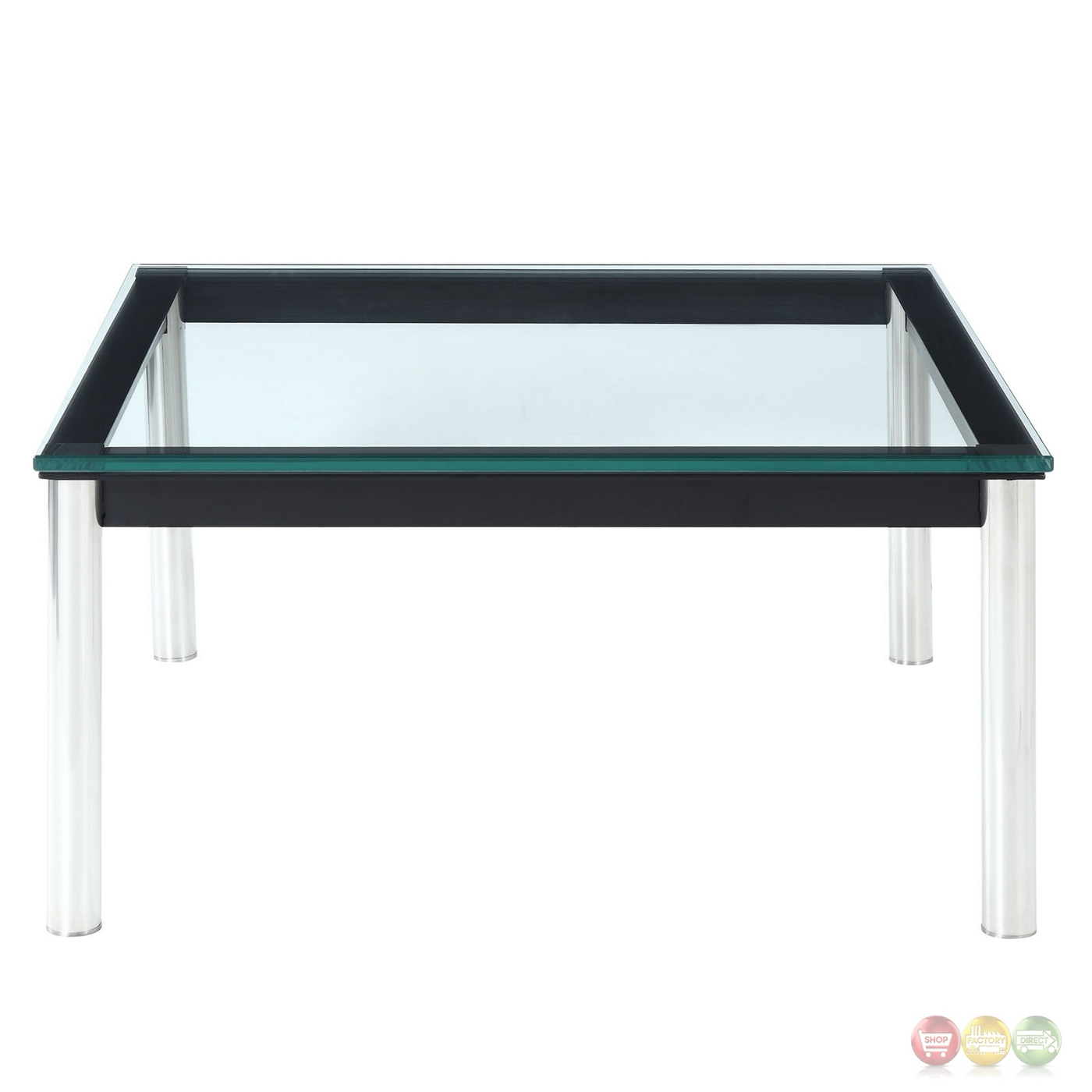 Charles Modern 27 5 Quot Glass Top Coffee Table W Stainless