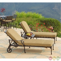 Charleston 3 Piece Cast Aluminum Outdoor Chaise Lounge Set