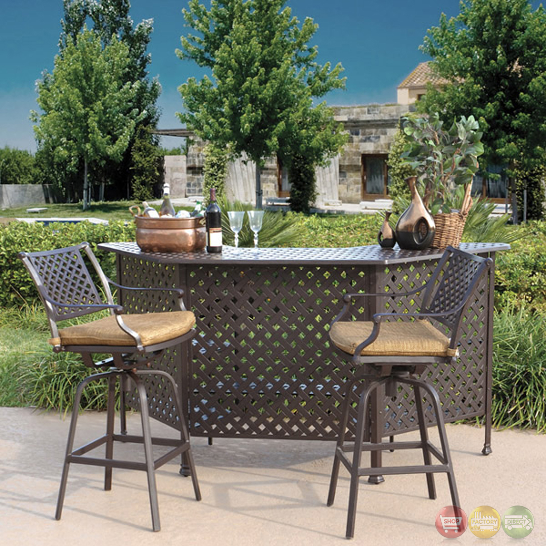 charleston 3pc cast aluminum outdoor dining bar set with sunbrella
