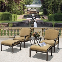 Charleston 5 Piece Cast Aluminum Outdoor Club Chair Set with Sunbrella Fabric