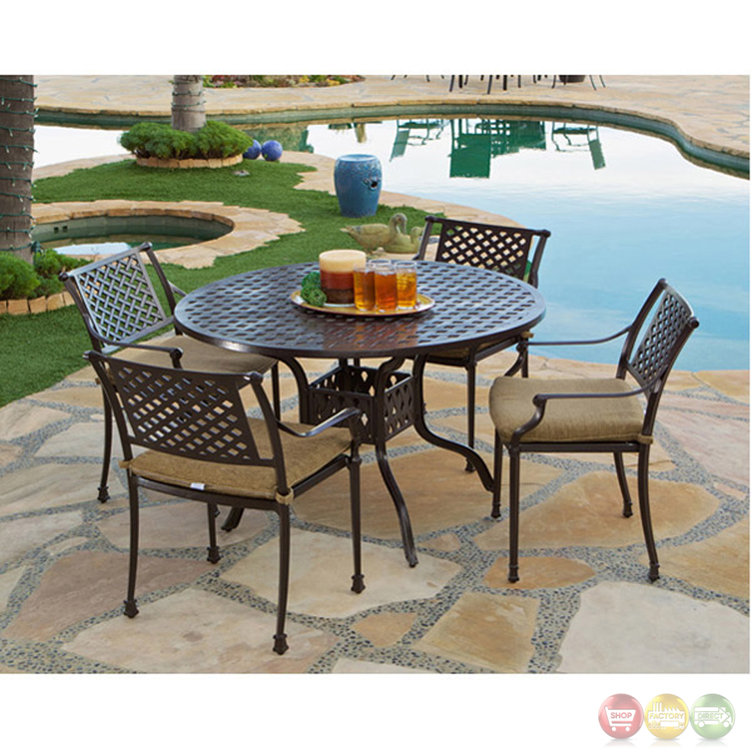 Charleston 5 Piece Cast Aluminum Outdoor Dining Set With