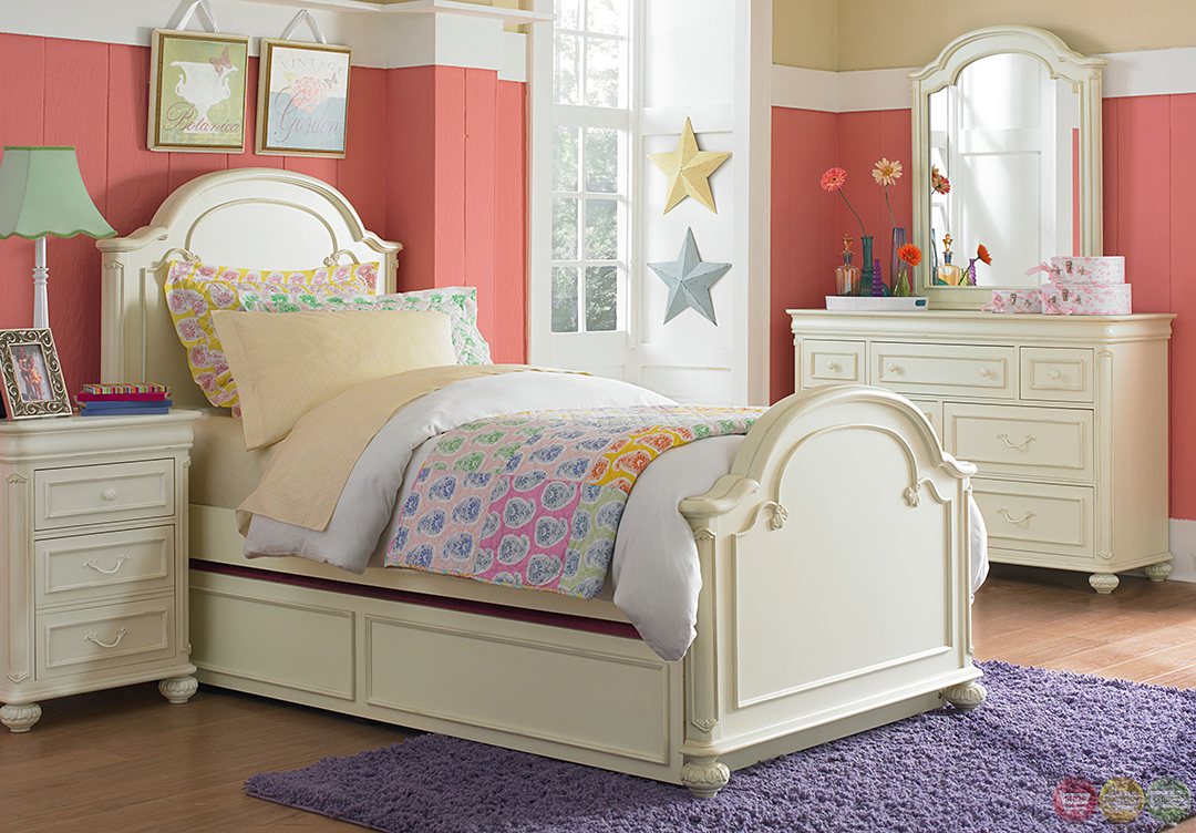 Charlotte Antique White Arched Panel Twin Youth Bed