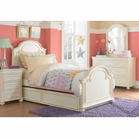 Charlotte Traditional Antique White Arched Top Panel Twin Size Bed