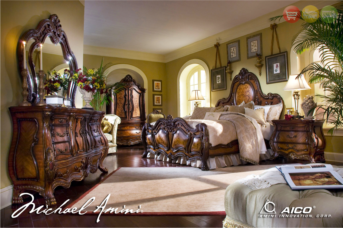 ... Traditional Luxury Bedroom Furniture Set Noble Bark Finish by AICO