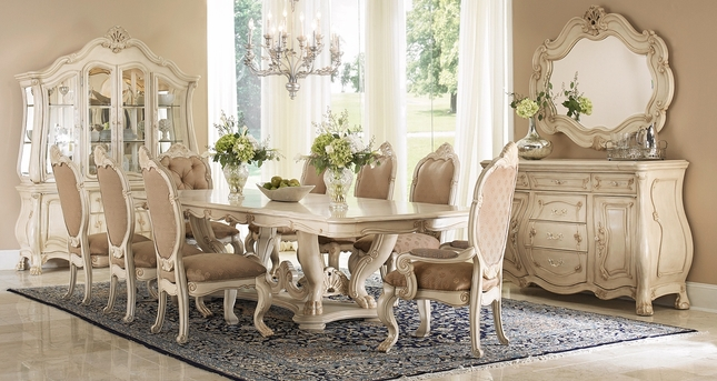 "Chateau De Lago 5-pc French 84""-155"" Dining Table Set In Blanc Antique White"