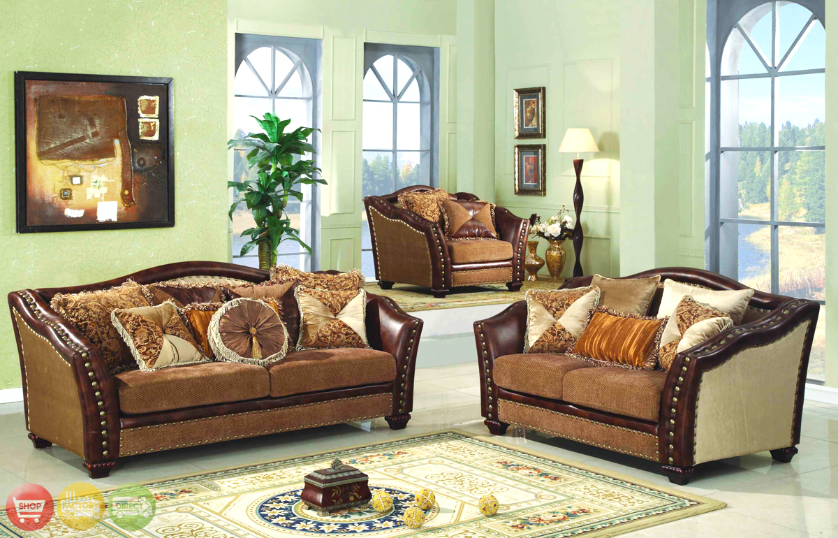 Chateau palace luxury nailhead trim living room sofa set