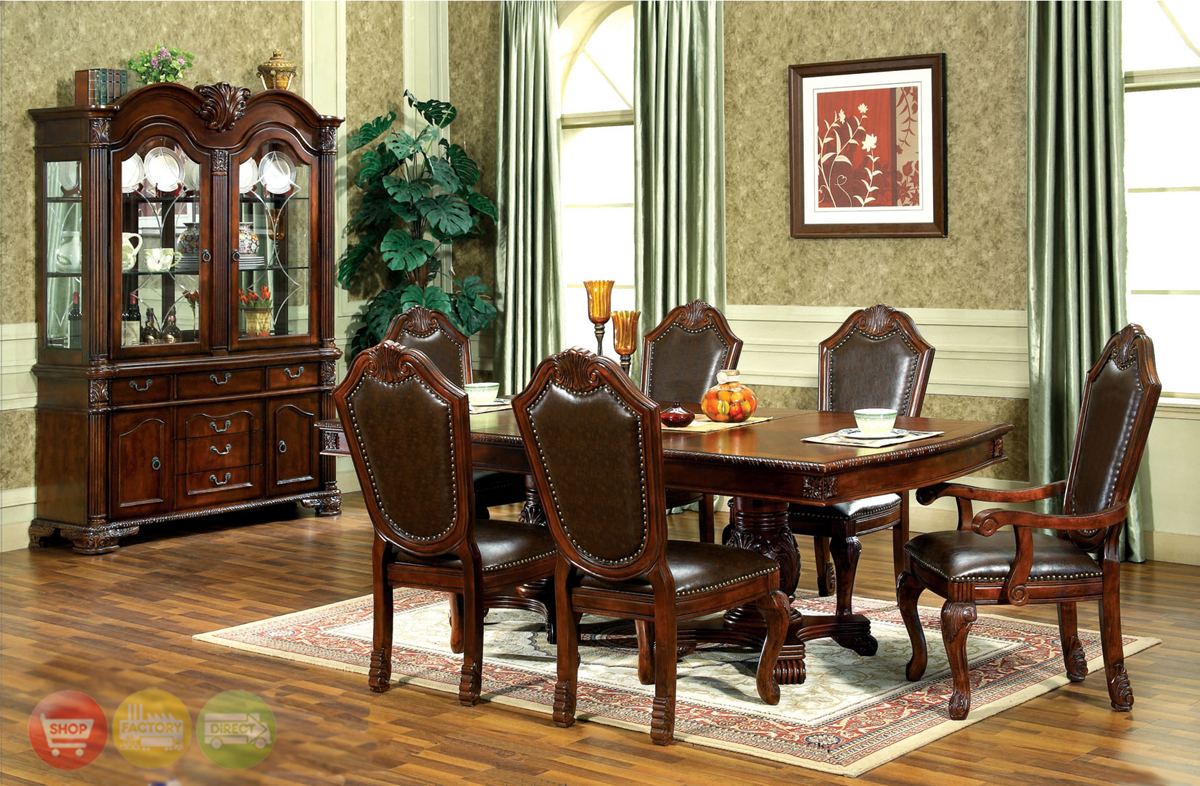 chateau traditional formal dining room furniture set steve silver wilson 7 piece 60x42 dining room set in